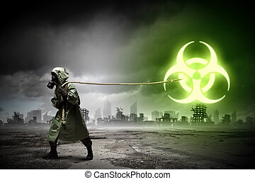 Stalker pulling rope - Man in respirator against nuclear...