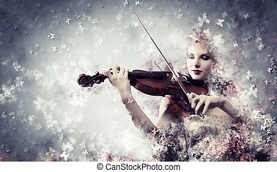 Gorgeous woman playing violin - Image of gorgeous woman...