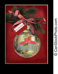 Christmas ornament with black frame