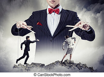 Businessman puppeteer - Image of young businessman puppeteer...