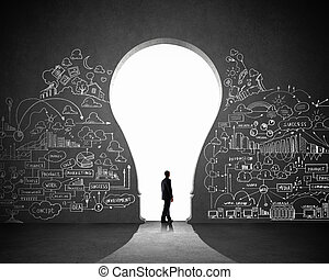 Businessman and business plan - Silhouette of businessman...
