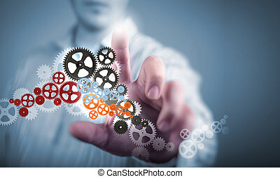 Business structure - Image of businessman touching gear...