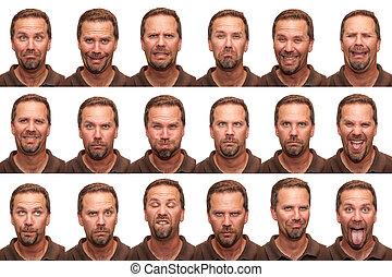 expressões, -, meio, envelhecido, homem