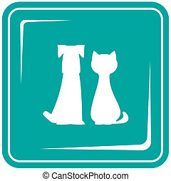 icon with pets - dog and cat - blue icon with pets - dog and...