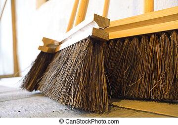 de madera, grande, Quehacer doméstico, Escobas, piso