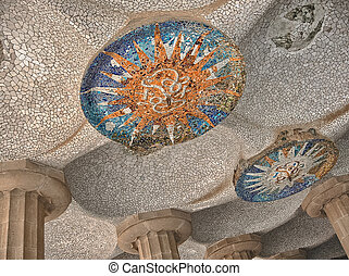 Colorful architecture by Antonio Gaudi. Parc Guell is the most i
