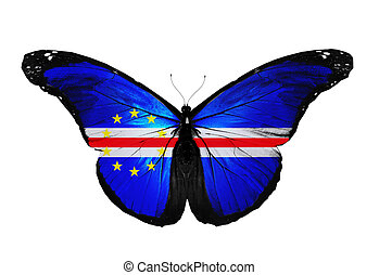 Cape Verde flag butterfly flying, isolated on white...