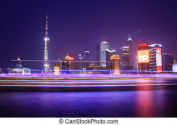 Shanghai - night view of Shanghai with light traces from...