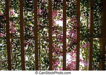 Natural Ceiling - natural ceiling with pink flowers and...