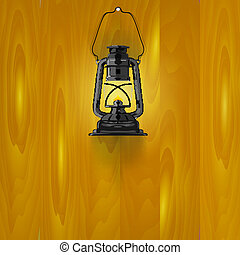 Illustration of an old lamp on a wooden wall