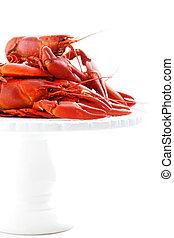 Crawfish - Fresh boiled cradwfish on white isolated...