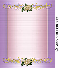 Wedding invitation Pink Satin and roses - Image and...