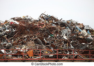Industrial waste - Huge pile of assorted industrial junk or...