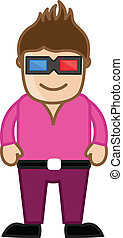 Stylish Man with 3d Glasses Vector