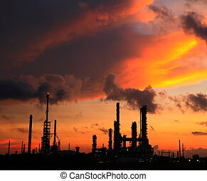 Oil refinery at sunrise.