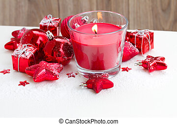 christmas red candle with snow - christmas red burning...