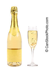 Goldish bottle and glass of champagne - Goldish bottle and...