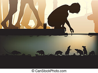 City sewer - Editable vector illustration of a young boy...