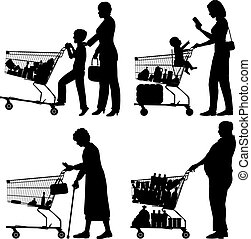 Supermarket shoppers - Editable vector silhouettes of people...