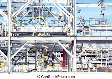 Refinery Factory plant - Assembling of liquefied natural gas...