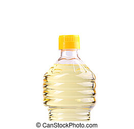 Top bottle of oil isolated on white