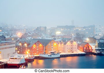 Tromso Cityscape winter mist Norway - Aerial view of Tromso...