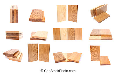 Collage of wooden planks Isolated on a white background