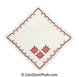 serviette - embroidered serviette by cross-stitch pattern
