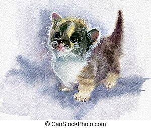 Watercolor Animal Collection: Kitten