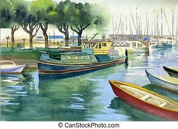 Boats - Watercolor Landscape Collection: Boats