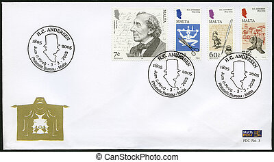 MALTA - 2005:shows Hans Christian Andersen (1805–1875), a...