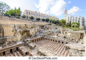 Roman Baths in Beirut, Lebanon - A view of the...