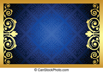 gold and blue floral frame