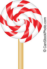 lollipop - Vector illustration of red and white lollipop