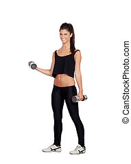 Happy fitness woman lifting dumbbells