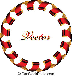 red and gold ribbon frame - Vector red and gold ribbon frame