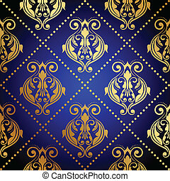 blue background with luxury gold or - Vector blue background...