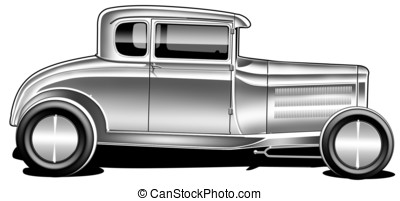 Early 30's hot Rod Side View - digital illustration