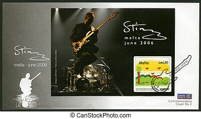 MALTA - CIRCA 2006: A stamp printed in Malta shows Sting,...