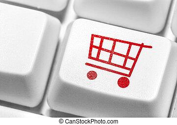 E-commerce, Shopping online. - E-commerce, red shopping cart...