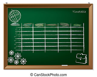 Timetable hand drawn on chalkboard - Empty timetable hand...