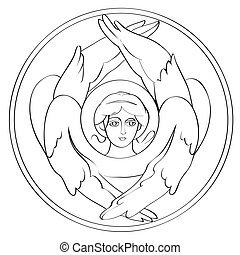 Seraph drawing - Seraph freehand outline drawing,...
