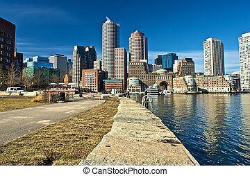 harborside boston - view of boston from harbor and rowes...