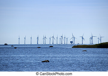 Sea windmill plantage, Denmark
