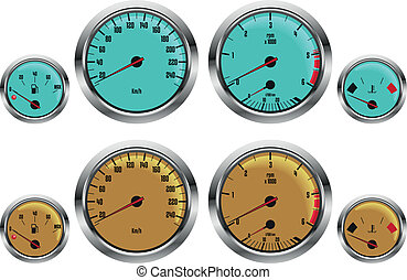 car gauges - retro sport car gauges in two colors