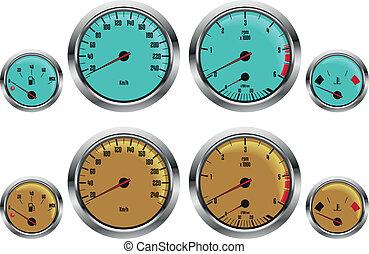 car gauges - retro sport car gauges in two colors