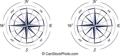 compass - two icons of wind rose or compass