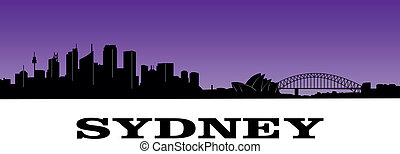 sydney - silhouette of sydneys skyline over purple...