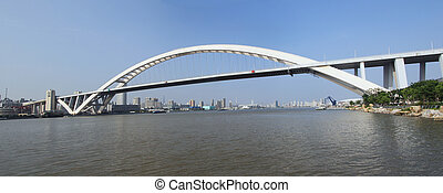 shanghai lupu bridge from across the huangpu river