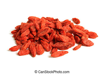 Red dried goji berries Lycium Barbarum - Wolfberry on a...
